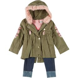Little Lass Baby Girls 3-pc. Floral Jacket &