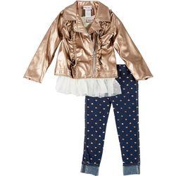 Little Lass Toddler Girls 3-pc. Bronze Jacket Set
