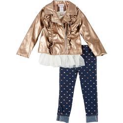 Toddler Girls 3-pc. Bronze Jacket Set