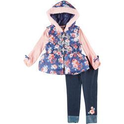 Toddler Girls 3-pc. Folar Vest Set