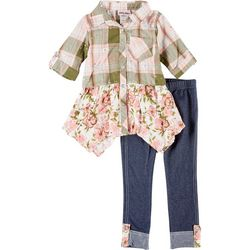 Little Lass Toddler Girls  Plaid Tunic & Leggings Set