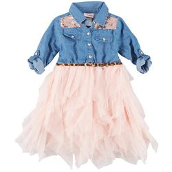 Little Lass Toddler Girls Denim Tulle Dress