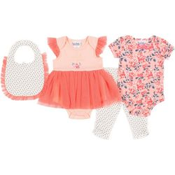 Baby Girls 4-pc. Coverall Set