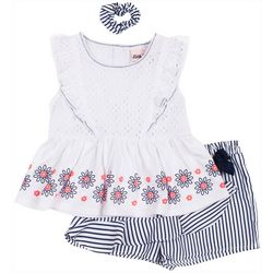 Toddler Girls 3-pc. Eyelet Stripe Short Set