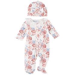 Nicole Miller Newyork  Baby Girls  Floral Footie Pajama Set