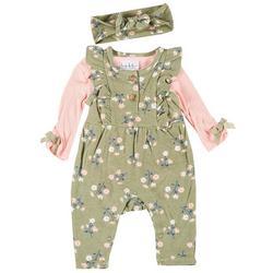 Nicole Miller Newyork Baby Girls 3-Pc. Floral Jumper  Set