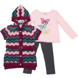 Toddler Girls 3-pc. Chevron Sweater Set