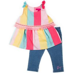Toddler Girls Stripe Denim Capri Set
