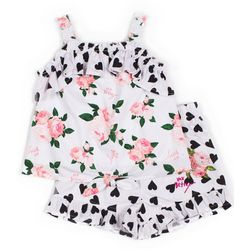 Betsey Johnson Toddler Girls 2-pc. Floral Heart Short Set