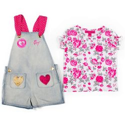 Betsey Johnson Toddler Girls Denim Shortall Set