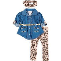 Little Lass Baby Girls 3-pc. Leopard Print Leggings Set