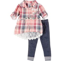 Little Lass Baby Girls Bedazzled Plaid Tunic & Leggings Set