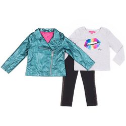 Toddler Girls 3-pc. Biker Jacket Set