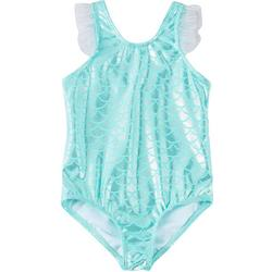 Toddler Girls Foil Mermaid Scale Swimsuit