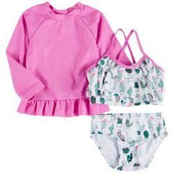 Sol Swim Baby Girls 3-pc. Cactus Swimsuit Set