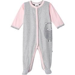 Baby Girls Organic Striped Lamb Footie P
