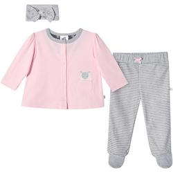 Baby Girls 3-pc. Organic Striped Lamb Layette Set