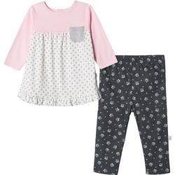 Baby Girls Long Sleeve Organic Floral Leggings Set