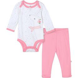 Just Born Baby Girls Organic Polka Dot Llama Bodysuit Set