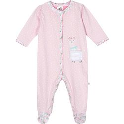 Just Born Baby Girls Organic Polka Dot Llama Footie Pajamas