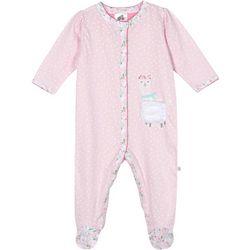 Baby Girls Organic Polka Dot Llama Footie Pajamas