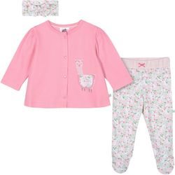 Baby Girls 3-pc. Organic Floral Llama Layette Set