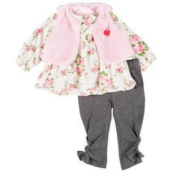 Baby Girls 3-pc. Fur Vest Set