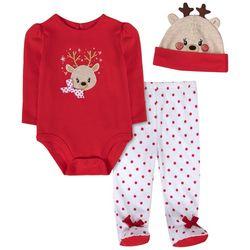 Sunshine Baby Baby Girls 3-pc. Reindeer Bodysuit Set