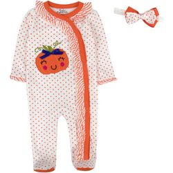 Baby Girls Polks Dot Jumpsuit & Headband Set