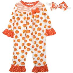 Baby Girls Pumpkin Jumpsuit & Headband Set