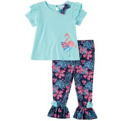 Sunshine Baby Baby Girls Flamingo Ruffle Hem Pants Set
