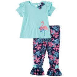 Sunshine Baby Toddler Girls Flamingo Ruffle Hem Pants Set