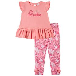 Toddler Girls Paradise Ruffle Pants Set