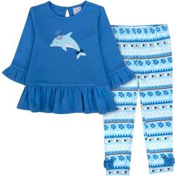 Sunshine Baby Toddler Girls Dolphin Bow Hem Pants Set