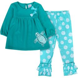 Sunshine Baby Toddler Girls Sea Turtle Ruffle Hem Pants Set