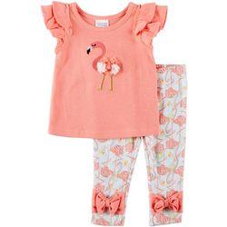 Sunshine Baby Baby Girls Short Sleeve Flamingo Leggings Set