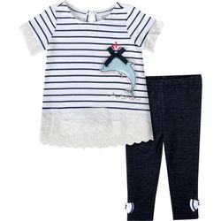 Sunshine Baby Baby Girls Striped Dolphin Leggings Set