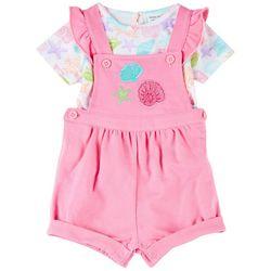 Baby Girls Shell Shortalls Set