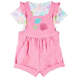 Baby Girls Shell Shortalls Set