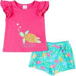 Girls Short Sleeve Turtle Shorts Set