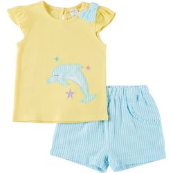 Baby Girls Dolphin Top And Shorts Set