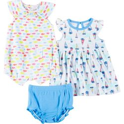 Baby Girls 3-pc Short Sleeve Fish Romper Set