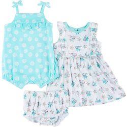 Baby Girls 3-pc. Starfish Romper Set