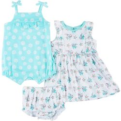 Baby Girls 3-pc. Starfish Romper Set