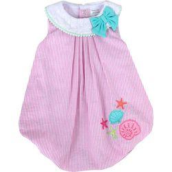 Baby Girls Striped Shell Bubble Romper