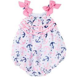 Sunshine Baby Baby Girls Chiffon Anchor Print Bubble Romper