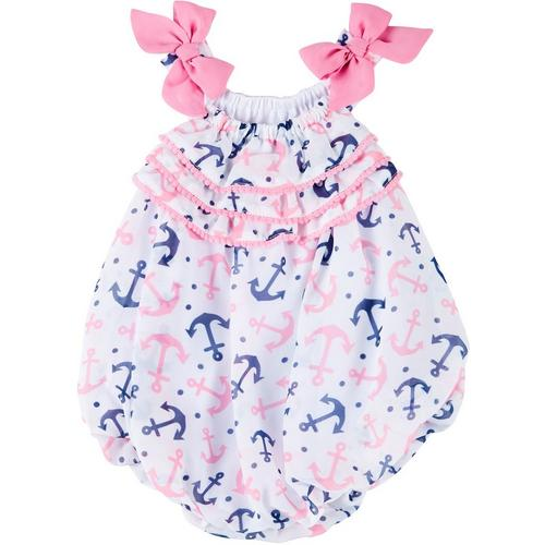 NEW ARRIVALS *** baby toddler girl sweet strawberry print Pom Pom romper