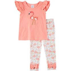 Sunshine Baby Baby Girls Short Sleeve Flamingo Leggings Set