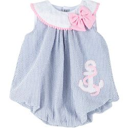 Sunshine Baby Baby Girls Striped Anchor Bubble Romper