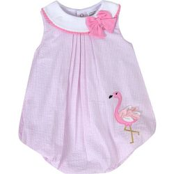 Sunshine Baby Baby Girls Striped Flamingo Bubble Romper